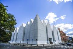 Szczecin, Польша, 17-ое июля 2017: Фасад филармонического Hall внутри Стоковые Изображения RF