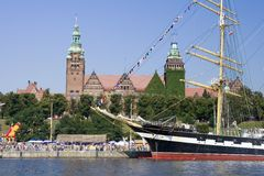 Szczecin. Admiring crowd watching at tall ship in Szczecin port, Poland Royalty Free Stock Image