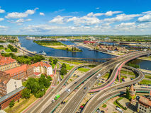 Szczecin aerial view. Urban landscape with the Odra River and the Łabuda Bridge and the Grodzka Island. City of Szczecin with the Oder River. Photos of the royalty free stock photo