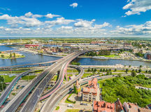 Szczecin from the air. The Castle Route and the Łabuda Bridge over the Oder, seen from the bird`s eye view. Attractions of the city of Szczecin on the Oder royalty free stock image