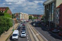 Szczecin - biltrafik i staden Arkivbild