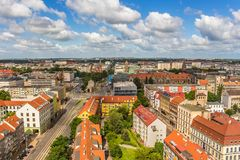 Szczecin - a bird`s eye view of the city. Panorama of the city with horizon and sky. stock photography