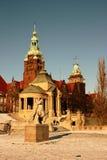 Szczecin buildings at river Odra stock photo