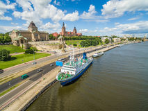 Szczecin - Bulwar and Chrobrego Shafts. Whalebone pier with moored boats. City landscape with bird`s eye view. Attractions in Szczecin seen from the air: castle Royalty Free Stock Photo