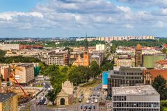 Szczecin - a city landscape from a bird`s eye view with the Port Gate. stock image