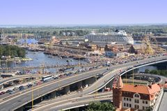 Szczecin Cityscape. Aerial view of Szczecin port with thousands of people at the Tall Ships Races event Royalty Free Stock Photos