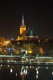 Szczecin en la noche foto de archivo libre de regalías