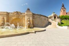 Szczecin Fontaine historique et terrasse historique de Haken photo libre de droits