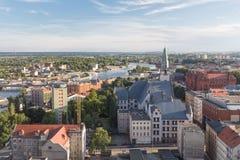 Szczecin i den Polen/panoramasikten royaltyfria foton