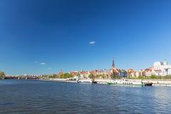 Szczecin i Polen/panorama av den historiska delen av staden royaltyfri fotografi