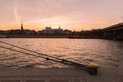 Szczecin i Polen/panorama av slotten och den historiska delen fotografering för bildbyråer