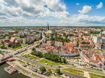 Szczecin - la vecchia città dalla vista dell'occhio del ` s dell'uccello E Fotografia Stock