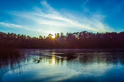 Szczecin, Lago-tramonto Fotografia Stock Libera da Diritti