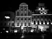 Szczecin by night. Artistic look in black and white. Royalty Free Stock Photos