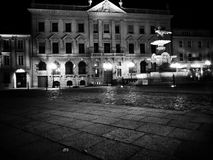 Szczecin by night. Artistic look in black and white. Stock Photo