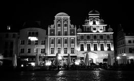 Szczecin by night. Artistic look in black and white. Stock Images
