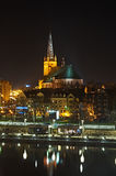 Szczecin at night. Cathedral in Szczecin at night Royalty Free Stock Photo