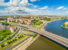 Szczecin - Old town from the bird`s eye view. Bulbul and embankment of Chrobrego, and river Odra seen from the air. City of Szczecin with the Oder River. Photos stock image