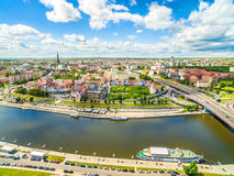 Szczecin - Piastowski Boulevard from the air. River Odra and the landscape of the old town. City of Szczecin with the Oder River. Photos of the drones stock image