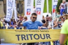 Szczecin, Polônia, o 9 de julho de 2017: Triathlon Szczecin, Triathletes fotografia de stock