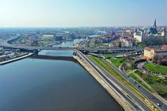 Free SZCZECIN, POLAND - 08 APRIL 2019 - Aerial View On Szczecin City, Area Of Waly Chrobrego And Trasa Zamkowa With Labudy Bridge At Stock Photos - 145324243