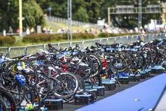 Szczecin, Poland, July 9, 2017: Triathlon Szczecin, many bicycle stock photo