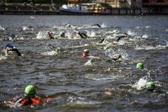 Szczecin, Poland, July 9, 2017: Triathlon Szczecin, Triathletes Royalty Free Stock Photography