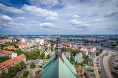 Szczecin in Poland. Szczecin, Poland - July 11, 2017: View from bell tower of Saint James the Apostle Cathedral in Szczecin city Royalty Free Stock Photos