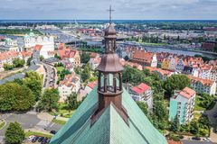 Szczecin in Poland. Szczecin, Poland - July 11, 2017: View from bell tower of Saint James the Apostle Cathedral in Szczecin city Stock Photos