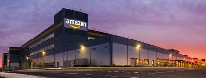 Amazon Logistics Center in Szczecin, Poland in the light of the rising sun,panorama