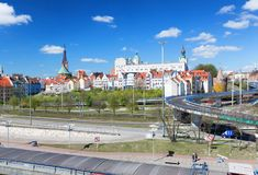Szczecin in Poland / Panorama of the castle and historical part stock images