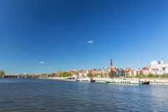 Szczecin in Poland / Panorama of the historical part of city. Szczecin in Poland / Waterfront view of the historical part of the city royalty free stock photography