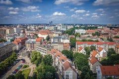 Szczecin in Poland. Szczecin, Poland - July 11, 2017: Aerial view of Szczecin city from St James cathedral Stock Photo