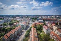 Szczecin in Poland. Szczecin, Poland - July 11, 2017: Aerial view of Szczecin city from St James cathedral Stock Photos