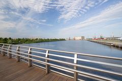 Szczecin in Poland / Waterfront view of the industrial areas of the old port Royalty Free Stock Image
