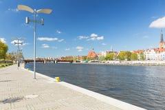Szczecin in Polen/Panorama van het historische deel van stad Stock Foto's