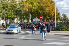 Szczecin - protest against Muslims. No muslims stock image