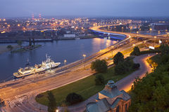 Szczecin (Stettin) City at night, Poland. Royalty Free Stock Photography