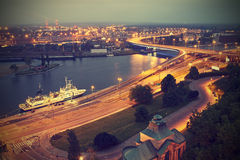 Szczecin (Stettin) City at night, vintage effect. Stock Photography