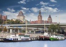 Szczecin (Stettin) City old town, riverside view, Poland. Stock Image