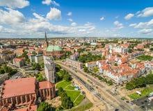 Szczecin - vecchia città: basilica, castello Paesaggio della città visto dalla vista dell'occhio del ` s dell'uccello Immagini Stock Libere da Diritti