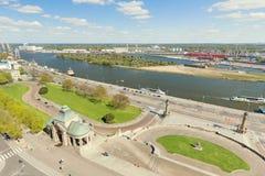 Szczecin, vue de ci-dessus sur la rivière, le port et la vieille ville Image libre de droits