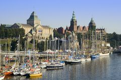 Szczecin Waterfront. View of the sailing ships docked at Szczecin waterfront Stock Image