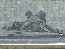 Szczegół monumentalny malowidło ścienne William Kentridge tęsk Tiber Rzym, Włochy zdjęcia royalty free