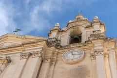 Szczegół St Paul Katedralna pierzeja Mdina Malta obrazy stock