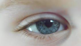 Szczegółowy zbliżenie dziecka niebieskie oko zbiory wideo