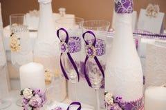 Szczegóły ślubny bankiet Ślubnej ceremonii dekoracja, piękny ślubny wystrój, kwitnie zdjęcia royalty free