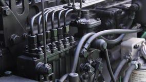 szczegółów silnika diesla silnika s ciągnik Silnik Diesla zbiory wideo