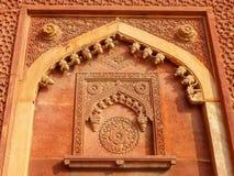 Szczegół ściana w Jahangiri Mahal, Agra fort, Uttar Pradesh, I Obrazy Royalty Free