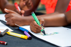 Szczegół afrykanów dzieciaków ręk rysować Obraz Royalty Free